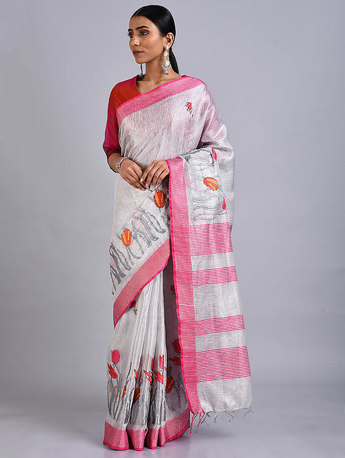 Silver-Pink Embroidered Linen Saree