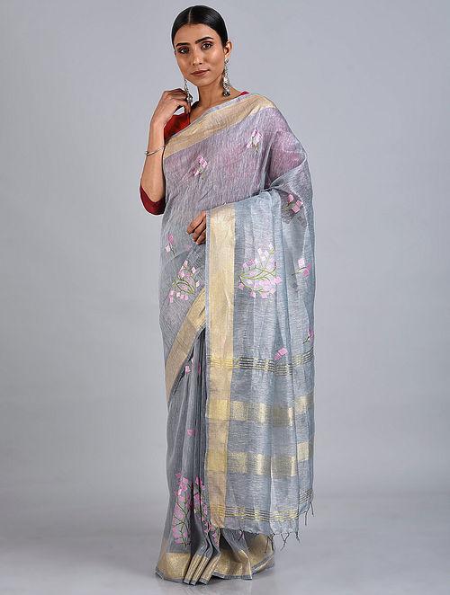Grey Embroidered Silk Linen Saree