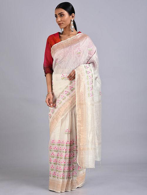 Off-White Embroidered Silk Linen Saree