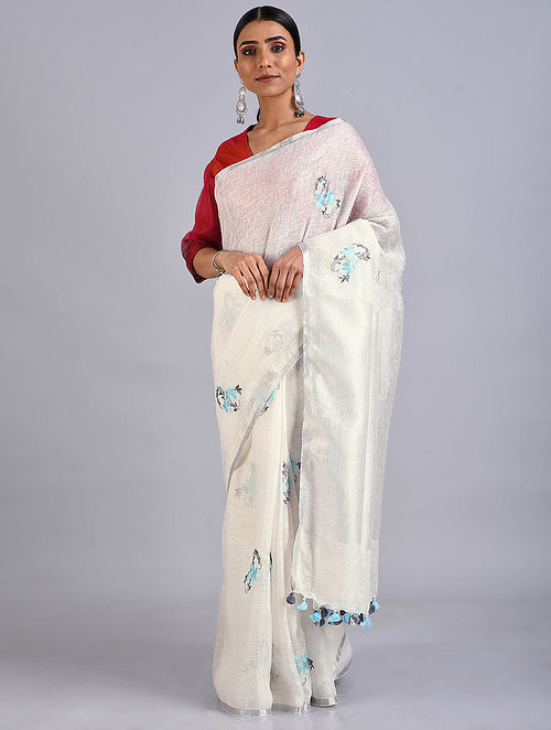 Ivory Embroidered Linen Saree