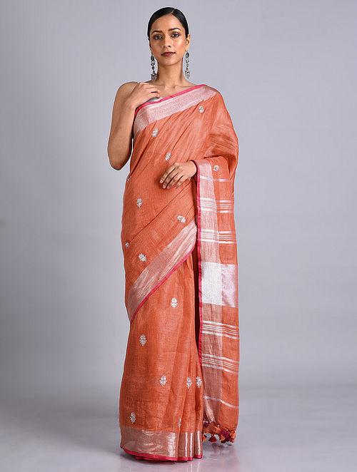 Orange Embroidered Linen Saree