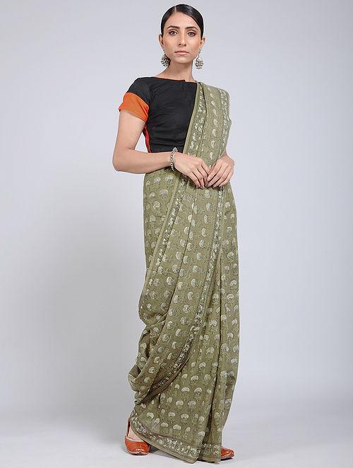 Green-Ivory Block-printed Mul Cotton Saree
