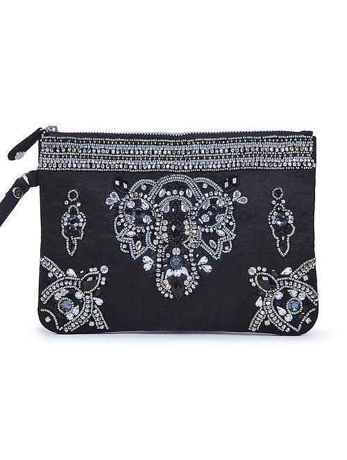 Black Embroidered Suede Envelope Clutch