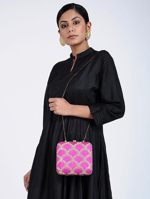 Pink Hand Embroidered Silk Clutch