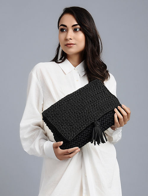 Black Cotton Macrame Clutch