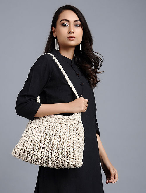 White-Brown Cotton Macrame Tote Bag
