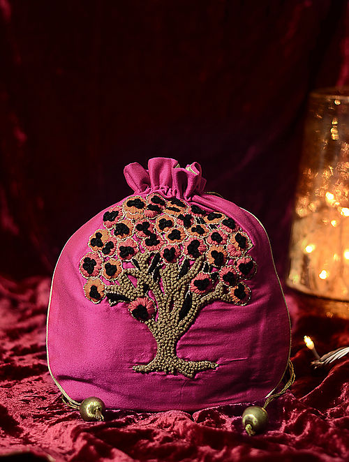 Multicolored Hand Embroidered Cotton Silk Potli