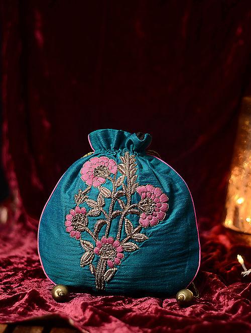Blue-Pink Hand Embroidered Cotton Silk Potli