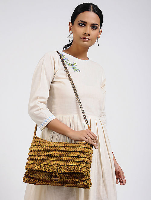 Rust Brown Cotton Macrame Sling Bag