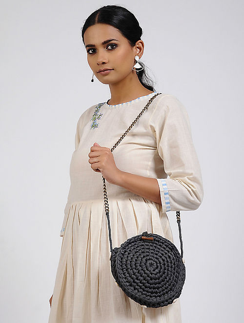 Grey Cotton Macrame Sling Bag