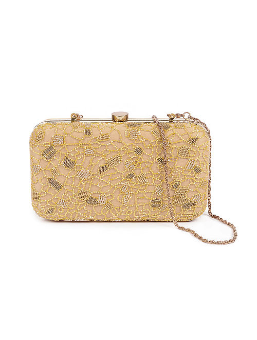 Beige Gold Embellished Silk Clutch with Beads