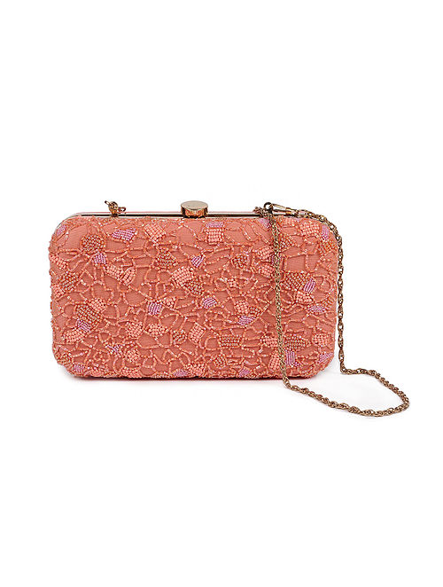 Peach Embellished Silk Clutch with Beads