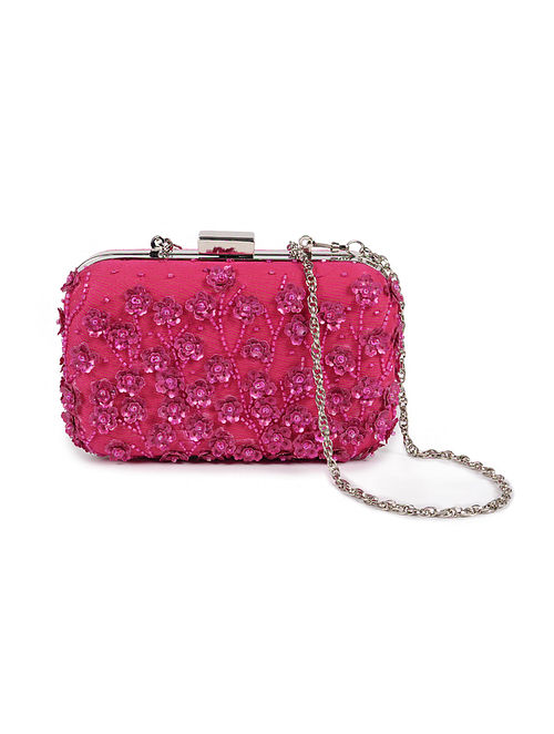 Pink Embellished Silk Clutch with Sequins