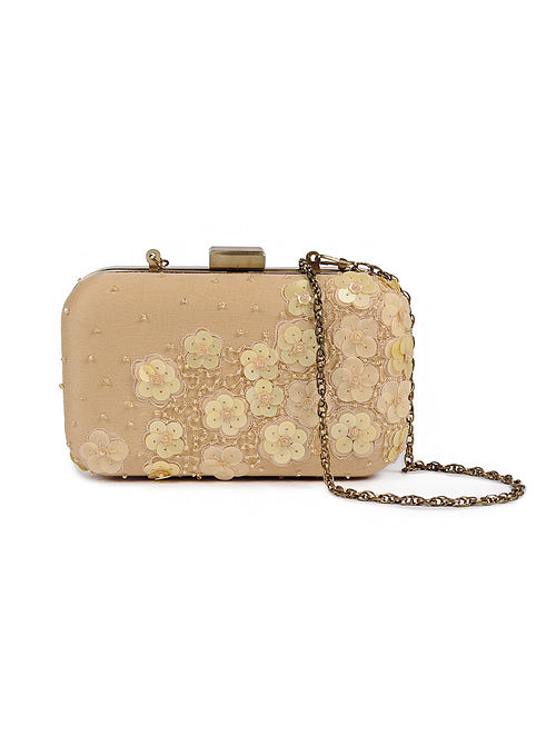 Beige Embellished Silk Clutch with Sequins