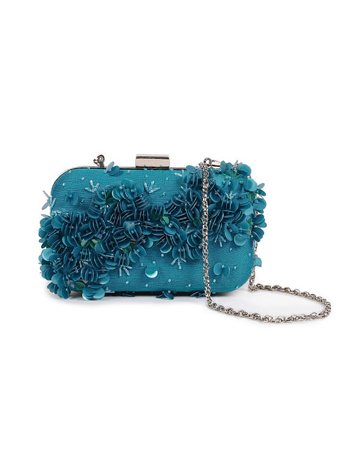 Teal Embellished Silk Clutch with Sequins