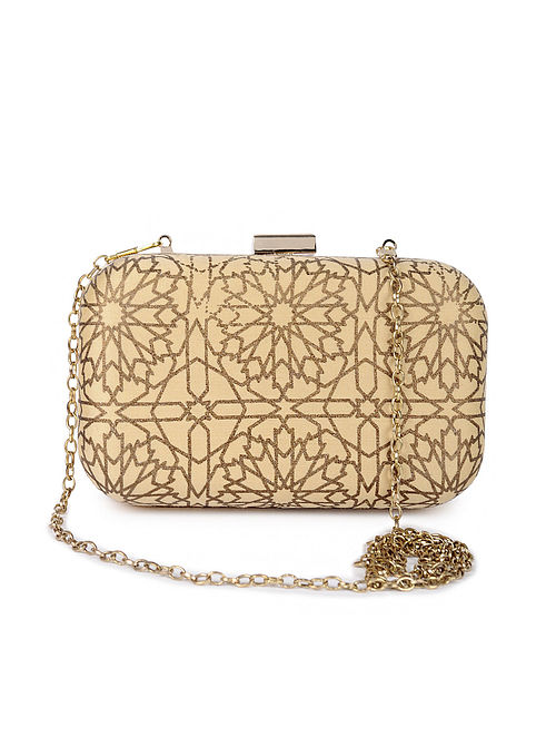 Beige Gold Handcrafted Foil Printed Silk Clutch