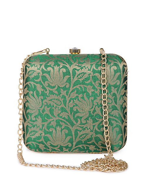 Green Gold Handcrafted Brocade Silk Clutch
