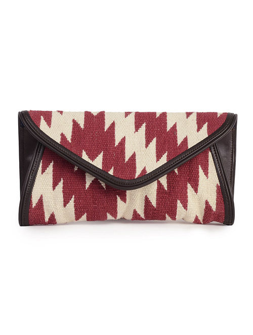 Maroon-ivory-Brown Faux Leather Kilim Envelope Clutch