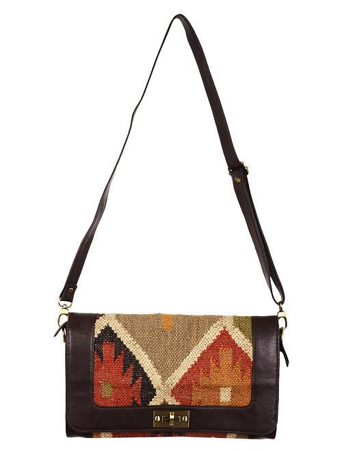 Multi-Color-Brown Faux Leather Kilim Sling Bag