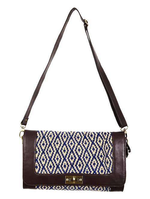 Beige-Navy-Brown Faux Leather Kilim Sling Bag