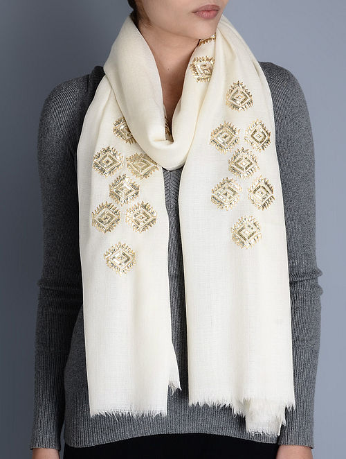 White Gota Patti Cashmere Wool Stole