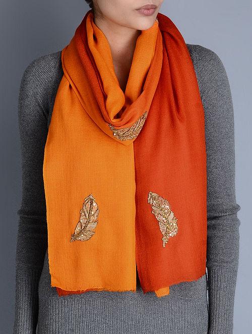 Orange-Red Gota Patti Cashmere Wool Stole