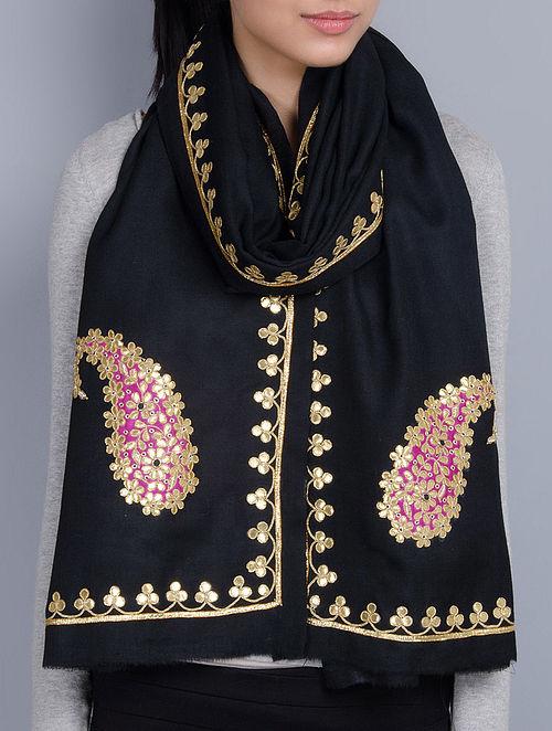 Black Cashmere Wool Gota Patti Hand Embellished Stole