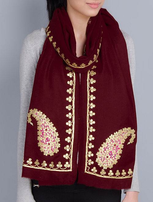 Maroon Cashmere Wool Gota Patti Hand Embellished Stole