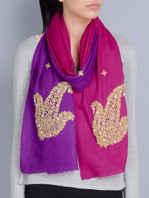 Fuschia-Purple Cashmere Wool Zardozi and Pearls Hand Embellished Stole