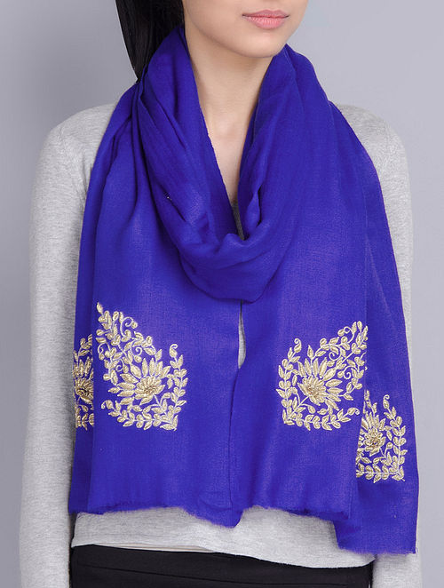 Blue Cashmere Wool Aari and Zardozi Hand Embellished Stole