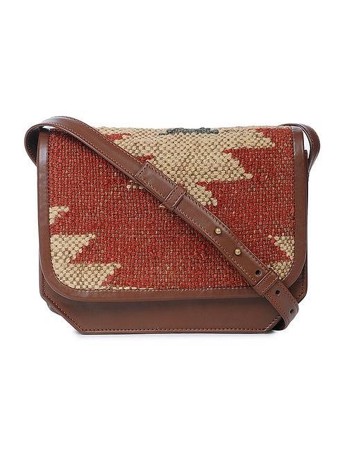 Red-Beige Wool Jute Kilim Sling Bag