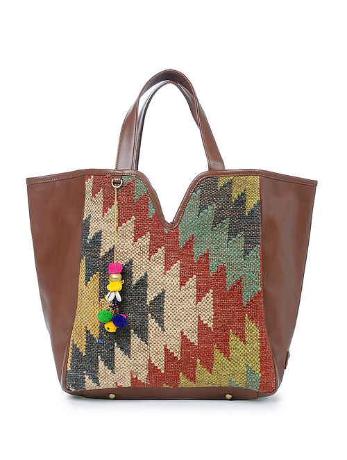 Multicolored Wool Jute Kilim Tote