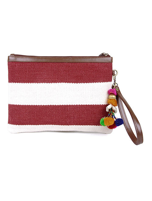 Red-White Cotton Kilim Utility Pouch with Tassels