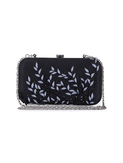 Black Silk Embroidered Clutch with Sequins and Beads