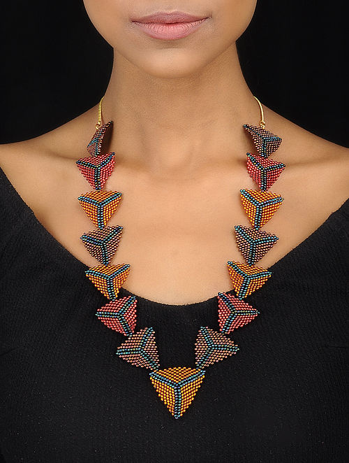 Multicolored Handcrafted Glass Beaded Necklace