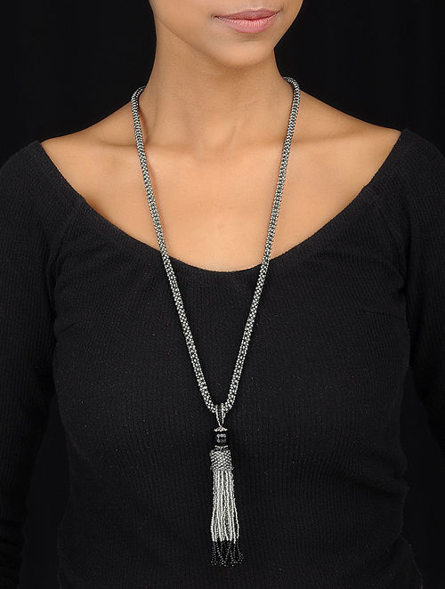 Grey-Black Handcrafted Glass Beaded Tassel Necklace