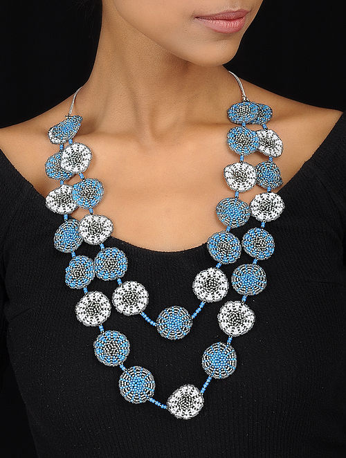 Blue-White Handcrafted Glass Beaded Necklace