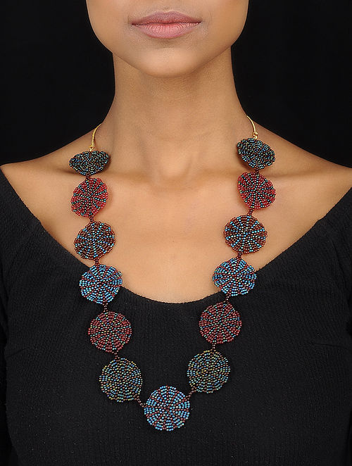 Blue-Red Handcrafted Glass Beaded Necklace