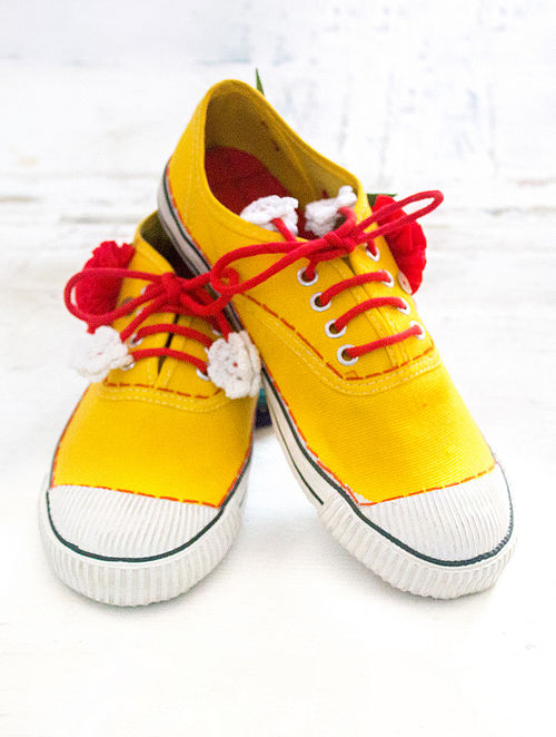Yellow Handcrafted Upcycled Canvas Sneakers with Embellishments
