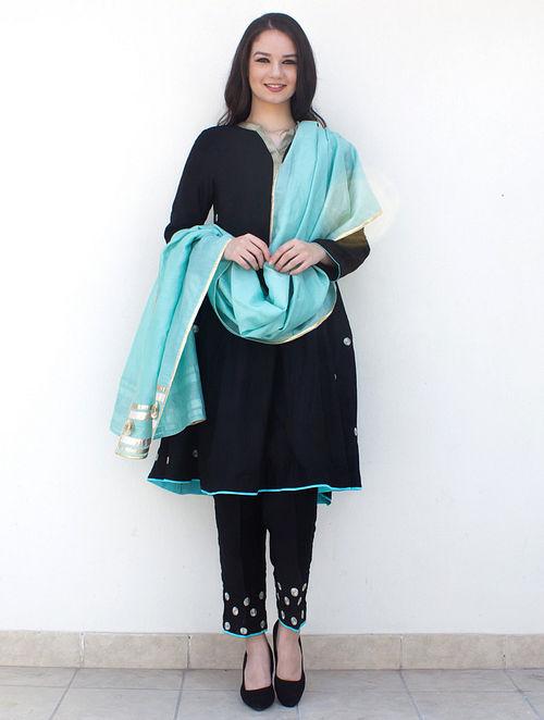 d3e29399e7606 Black Zari-Embroidered Cotton-Silk Kurta with Pants and Aqua Dupatta with  Gota Work (Set of 3)
