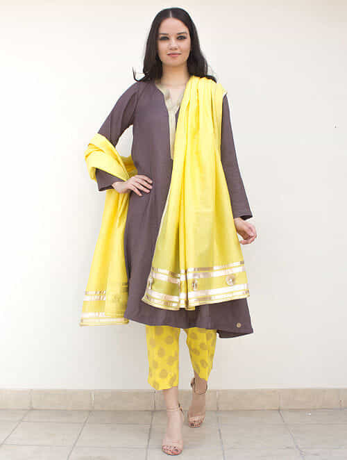 3ae0e37cc4f5 Grey Zari-Embroidered Cotton-Silk Kurta with Brocade Pants and Yellow  Dupatta with Gota Work (Set of 3)