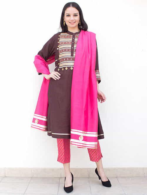 86e8c8b4ec Brown Zari-Embroidered Cotton-Silk Kurta with Brocade Pants and Pink  Dupatta with Gota Work (Set of 3)