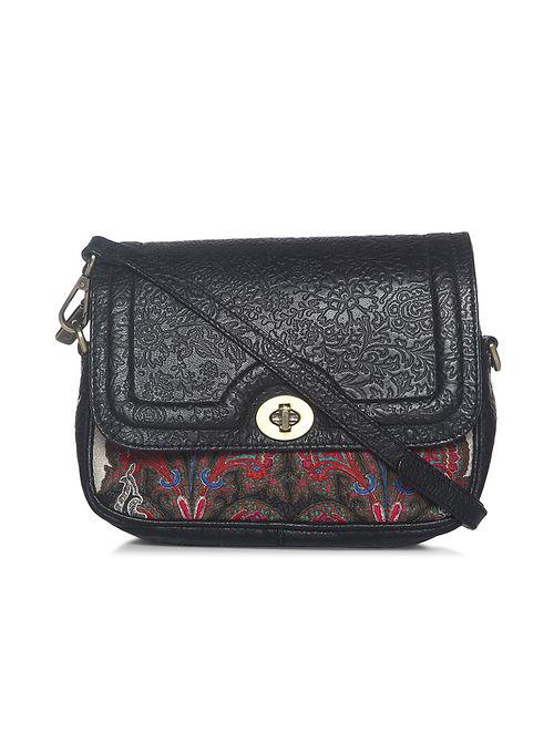 Black Red Handcrafted Leather Sling Bag