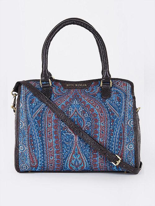 Blue Black Handcrafted Embroidered Leather Sling Cum Shoulder Bag