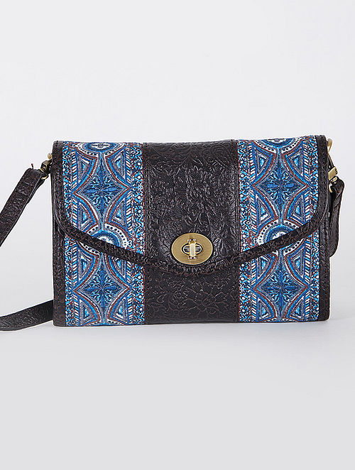 Blue Black Handcrafted Embroidered Leather Sling Bag