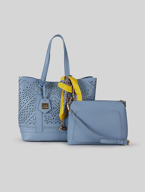 Powder Blue Leatherite Tote Bag