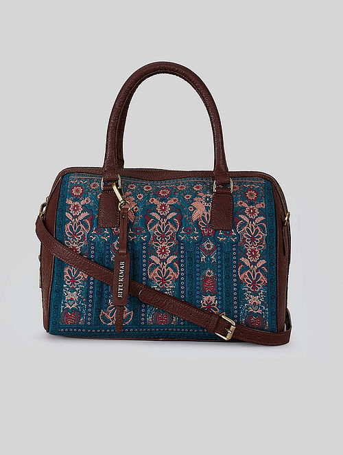 Blue Printed Leather Sling Bag