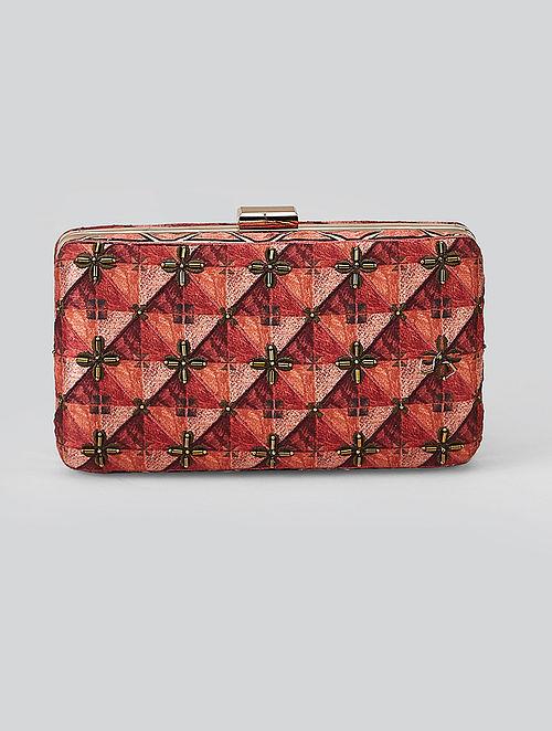 Wine Red Geometric Print Leather Clutch