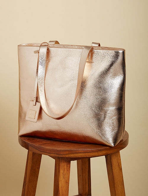 Metallic Gold Genuine Leather Tote Bag