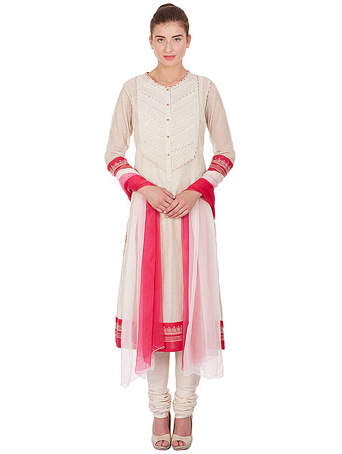 Ivory-Pink Polyester Kurta with Churidar and Dupatta (Set of 3)